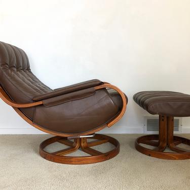 Danish modern Westnofa Orbit leather recliner lounge chair & ottoman by TripodModern
