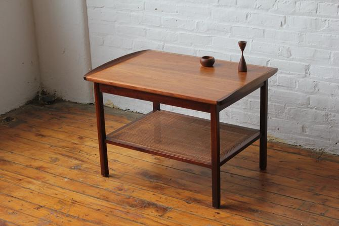 Restored Danish Walnut & Rattan End Table by NijiFurnishing