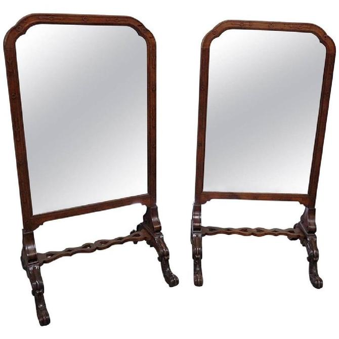 English Carved Walnut Standing Standing Mirrors (pair)