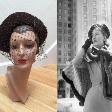 She Was Ready to Take Mahattan - Vintage 1940s Chocolate Brown Wool Felt Bonnet Hat w/Face Veil by RoadsLessTravelled2