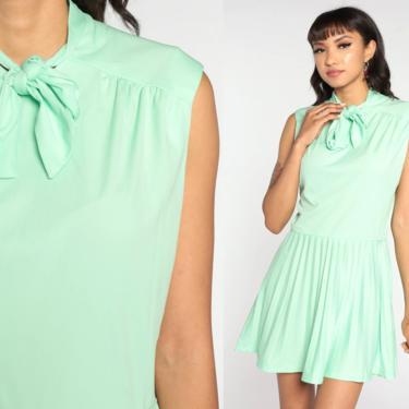 60s Mod Dress Ascot Dress Green PLEATED Gogo Shift 70s Vintage Necktie Dress Midi Sixties Dress Twiggy Dress Sleeveless Medium by ShopExile