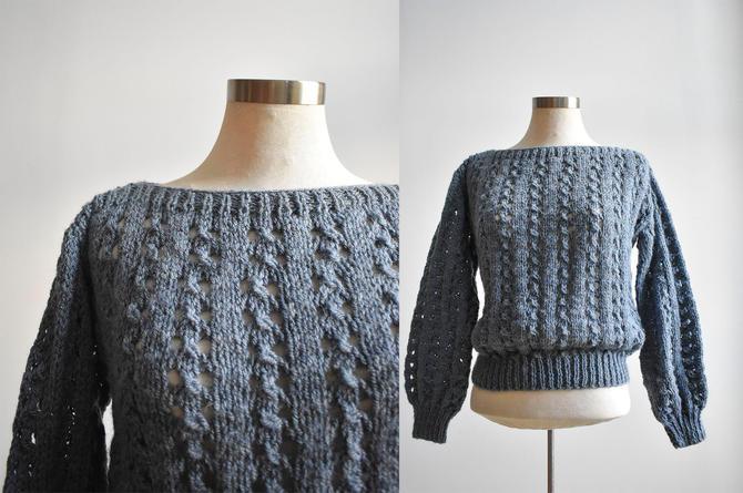 Vintage Blue Chunky Knit Sweater by milkandice