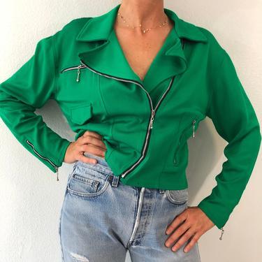 Vintage Tapemeasure Bright Green Zipper Jacket by VintageRosemond