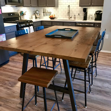 Urban Wood Goods High Top Bar Table, Bar Height Table, Counter Height Table with A Frame legs and reclaimed wood top.  Choose size, finish by UrbanWoodGoods