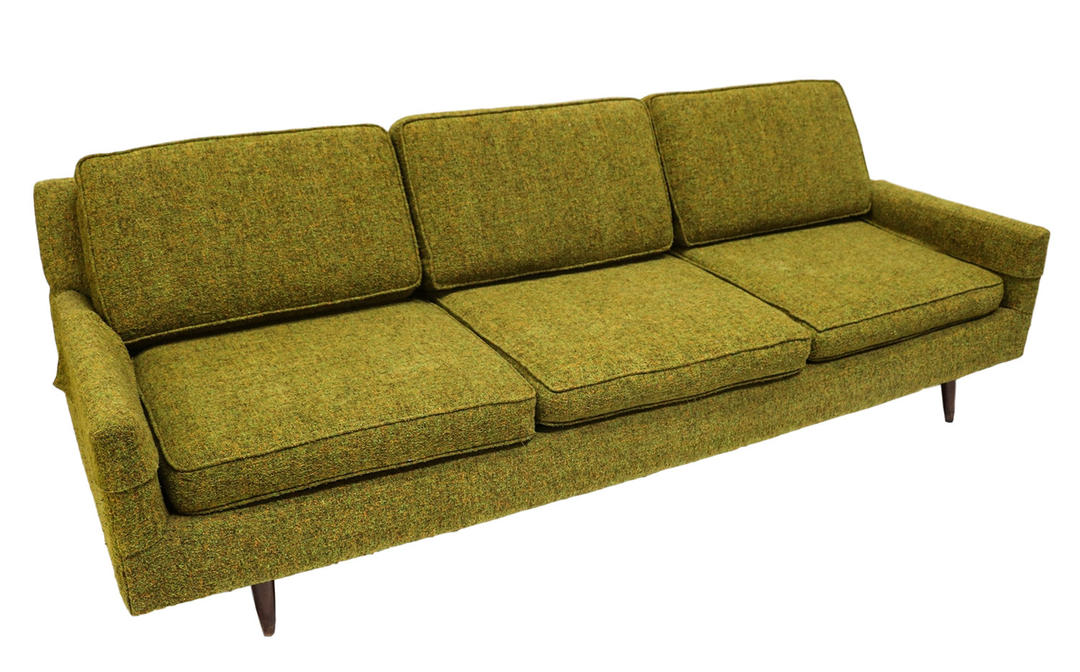 Mid Century Modern Green Upholstered Sofa By