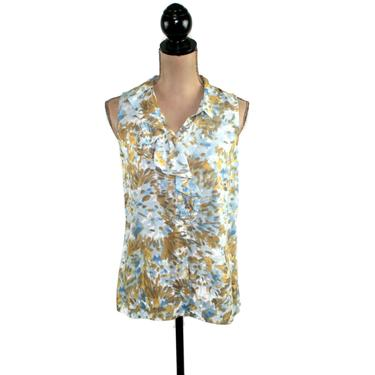 Ruffle Collar Blouse, Summer Sleeveless Button Up, Abstract Print Top, Rayon Shirt Women, Y2K Vintage Clothing, Ann Taylor Loft XS Small by MagpieandOtis