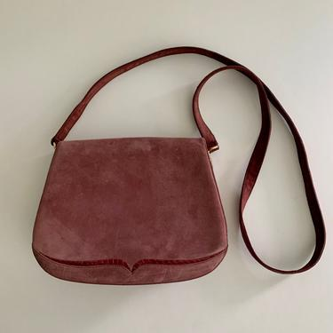 Bally crossbody dusty rose suede flap bag w/snake detail by MartinMercantile