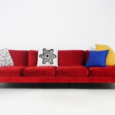 Red Velvet and Chrome Sofa by BetsuStudio