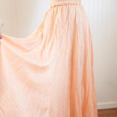 90s ethereal peach silk skirt | sostanza | osfm by foganddriftwood