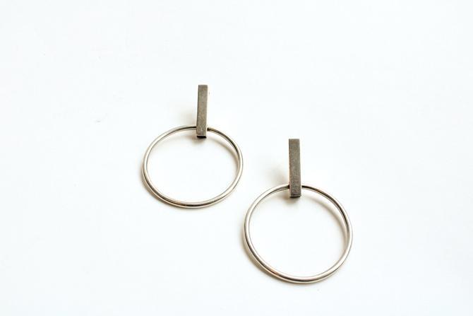 Sterling Silver Bar Hoop Earrings