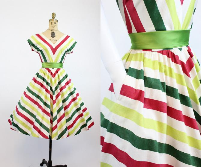 1950s chevron dress xs | cotton striped dress | new in by CrushVintage