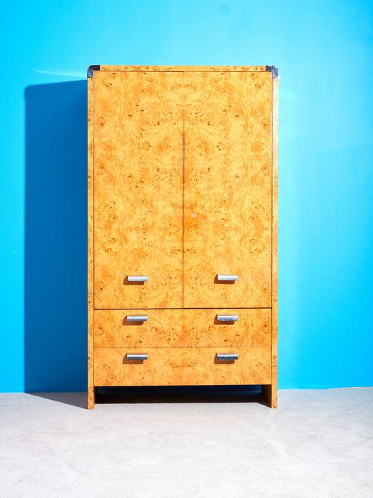 Burl and Chrome Armoire