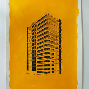 Mies in Yellow Acrylic on Heavy Drawing Paper (signed)