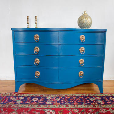 Vintage Teal Blue Dresser, Kent Coffey Dresser, Hand Painted Dresser, Free NYC Delivery by AntiqueBoutiqueNYC