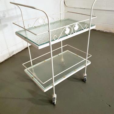 Mid Century Woodard Wrought Iron Rolling Bar Cart / Server by ProRefineFurnishings