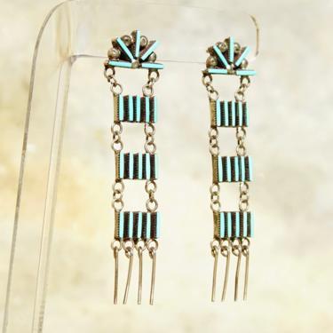 Vintage Zuni Sterling Silver Needlepoint Turquoise Ladder Dangle Earrings, Handmade Chandelier Earrings, Native American Jewelry, 2 3/4 US by shopGoodsVintage