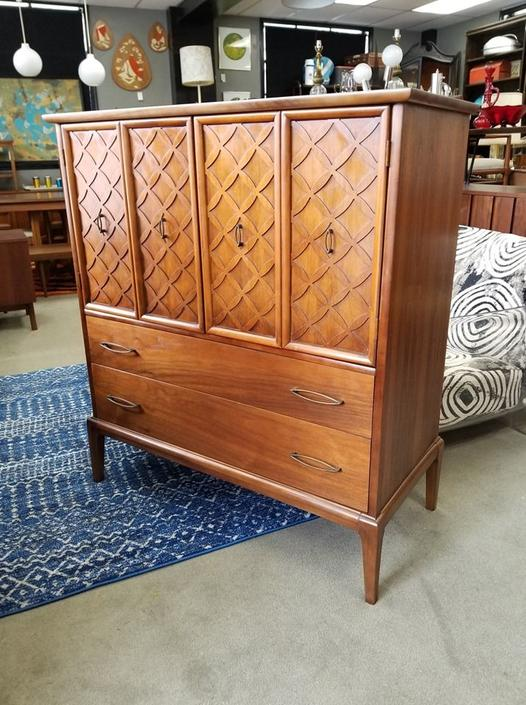 Mid-Century Modern chest on chest with lattice fronts
