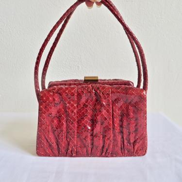 Vintage Red Snakeskin Leather Box Purse Top Handle Brass Metal Closure Hardware WW2 Era Wilshire Original 40's Handbag Accessories by seekcollect