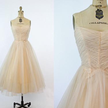 1950s strapless tulle dress xxs | vintage cupcake full skirt | new in by CrushVintage