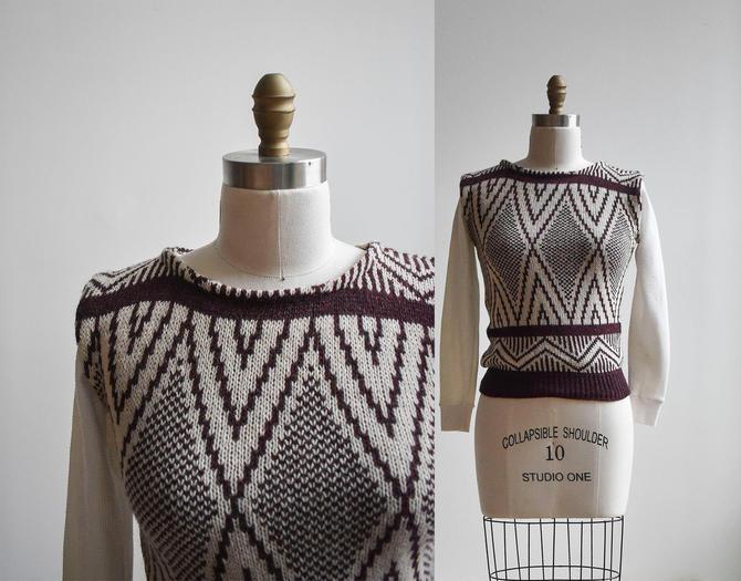 Vintage Maroon Knit Sweater Vest by milkandice