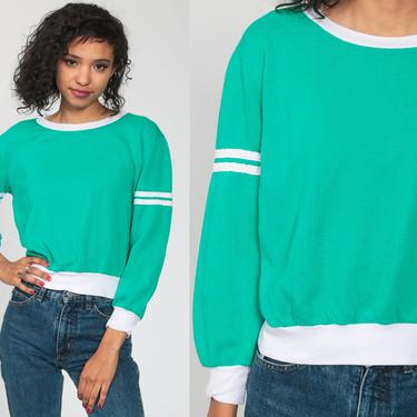 Green Sweatshirt STRIPED Ringer Shirt 80s Sweater Cropped Shirt Crop Top Pullover Slouchy Sports 1980s Vintage Retro Small by ShopExile