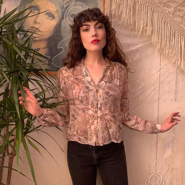 70's NOVELTY PRINT BLOUSE - peacock feathers - semi sheer - large by GlamItToHell
