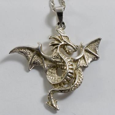 Detailed 90's Mexico sterling gothic dragon pendant, big edgy 925 silver mythical beast on long Italy twist chain necklace by BetseysBeauties