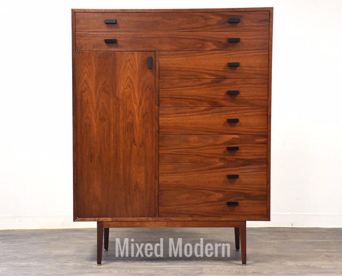 Walnut Gentleman's Chest Moderb Armoire Dresser by mixedmodern1