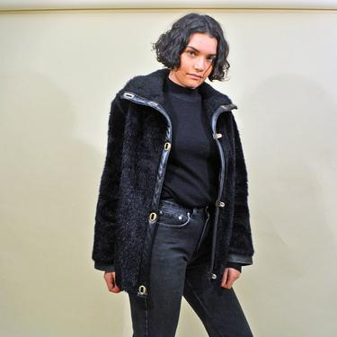 vintage 70s faux fur coat jacket 1970s mod chic grandma overcoat winter black shaggy furry overcoat outerwear chic jackie o 1960s 60s Medium by levintagecult