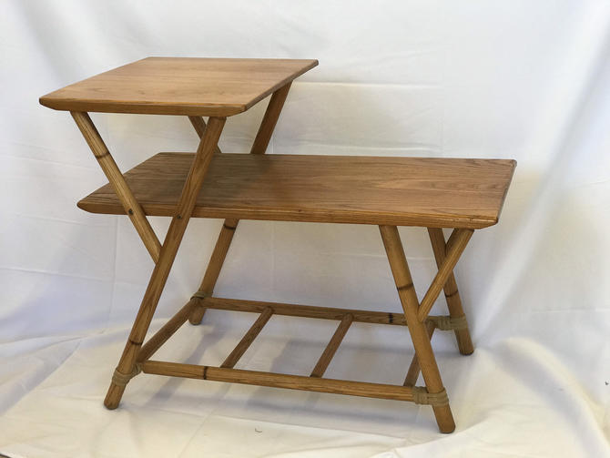 Heywood Wakefield MId Century 2 Tier Table by BigWhaleConsignment