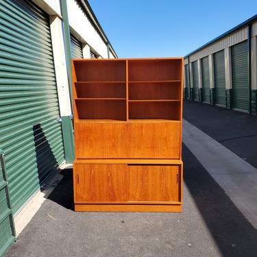 Mid Century Modern Teak Poul Hondevad & Co Ulfborg 1960's Fold Out Desk Secretary Bookcase Wall Unit Credenza Curio Cabinet Apartment Loft by MakingMidCenturyMod