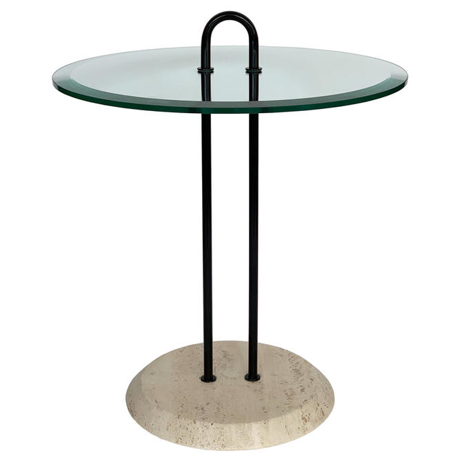 Magistretti Travertine Glass Side Table
