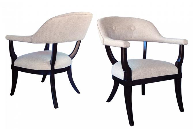 A Stylish Pair of American 1960's Edward Wormley Style Barrel-back Chairs with Deep Brown Lacquered Finish