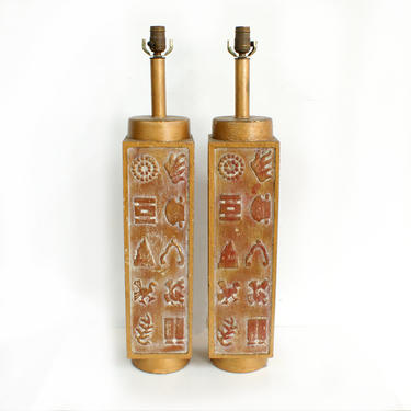 Ackerman Style Pair of Large Carved Wood Table Lamps by TheModernHistoric