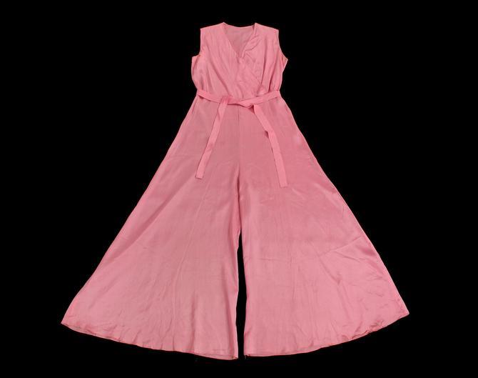 Rare! 1930s Beach Pajamas  / 30s PINK Pj Jumpsuit / Lounge Jumpsuit / Pyjama Onesie by GuermantesVintage