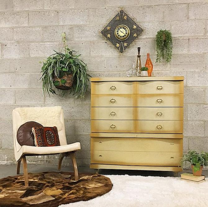 LOCAL PICKUP ONLY Vintage Bassett Dresser Retro 1960s Blonde Wood Five Drawer + Atomic + Mid Century Bureau for Bedroom or Clothing Storage by RetrospectVintage215