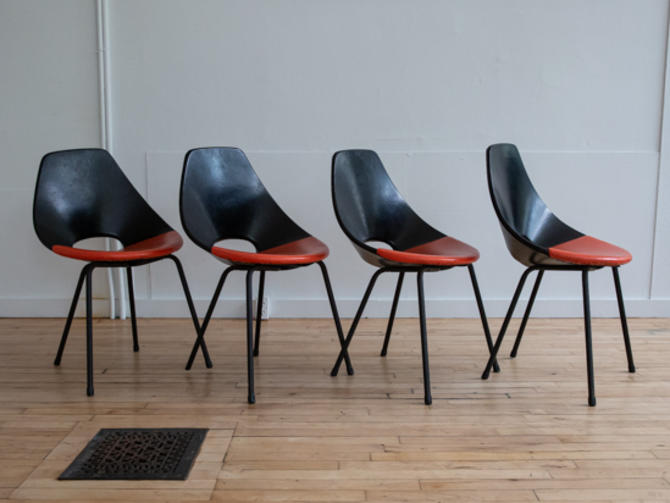 Set of Four Black-Orange Pierre Guariche Style Dining Chairs