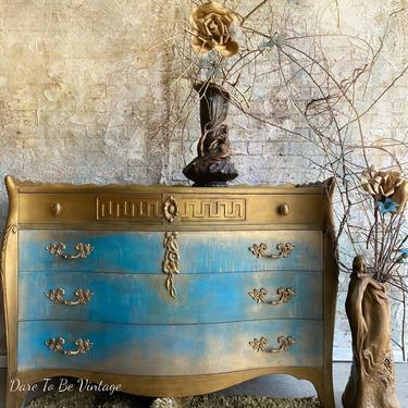 Romantic Turquoise Hand Painted Bombay Dresser - Turquoise Gold French Provincial Dresser - Painted Furniture - Turquoise Gold Dresser by DareToBeVintage