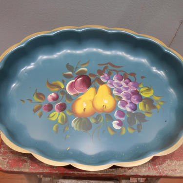 Vintage Hand Paint Tole Tray Fruit Floral Flowers Still Life Painting Heavy Metal Scallop Edge Serving Platter Tray Plate Farmhouse Cottage by kissmyattvintage