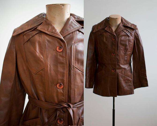 1970s Brown Leather Trench / Brown Leather Jacket / 70s Leather Jacket / Moto Jacket / Vintage Leather Jacket / 1970s Leather Trench by milkandice
