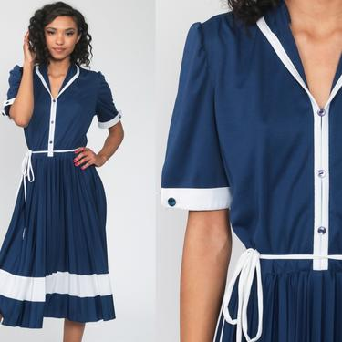 Blue Striped Dress Midi Puff Sleeve Dress 80s Secretary Dress 70s High Waisted Navy PLEATED 1980s Vintage Knee Length Slouchy Large by ShopExile