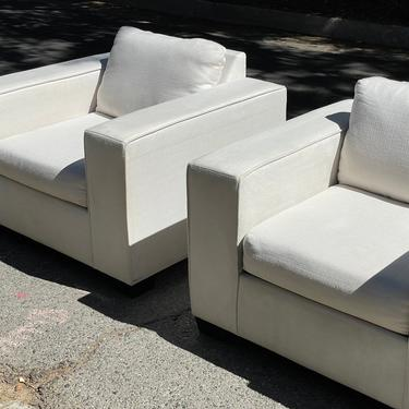 Stunning Mid-Century Modern Club Chairs in White Linen by HollywoodHillsModern