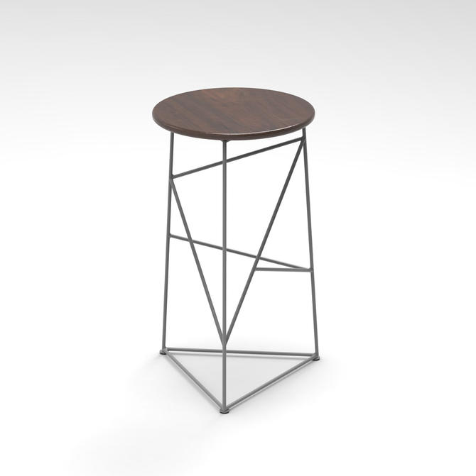 Stool,  Modern Steel Bar Stool in an Gray  Finish with Solid Walnut Seat by JumpFurniture