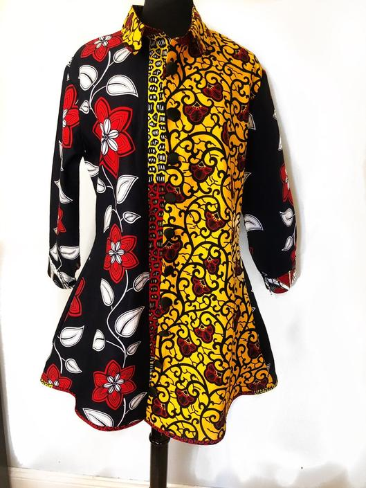 Prisca multi-print 'Michelle' Shirt dress, in Yellow/Red/Back/Blue colors, 100% cotton, Ankara print by PriscArts
