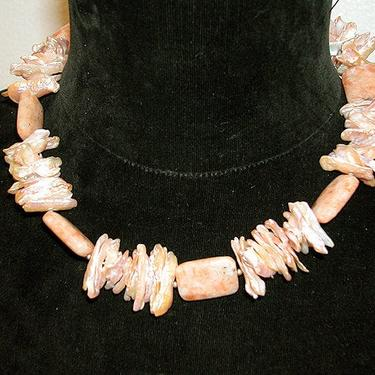 Cafe Society Collection Necklace:  Pink Pearls and Stones by CafeSocietyStore