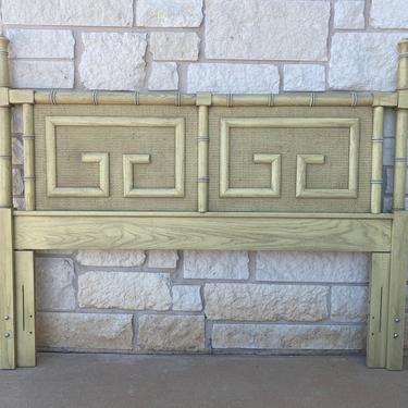 Full / Queen Hollywood Regency Chinoiserie Dixie Shangri-La Headboard with Faux Bamboo & Geometric Greek Key Accents by PrimaForme