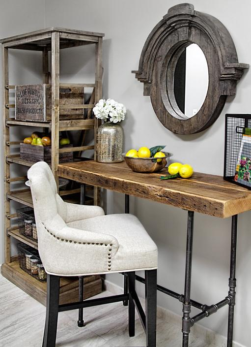 Rustic Desk made with reclaimed wood and pipe legs. Choose size, thickness and finish.  Built at any height for no additional charge. by UrbanWoodGoods