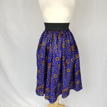 Ankara silk tea-length skirt with invisible pockets (Blue with yellow petals) by GLAMMfashions