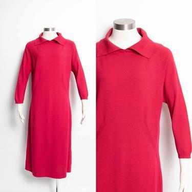 1960s Sweater Dress Wool Knit Long Sleeve Meringue M / L by dejavintageboutique