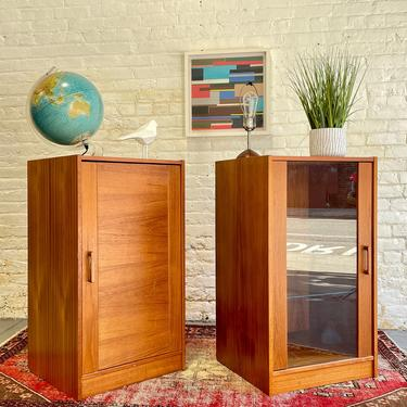 Mid Century MODERN Teak CABINETS / Bookcases, Made in Denmark by Denka, a PAIR by CIRCA60